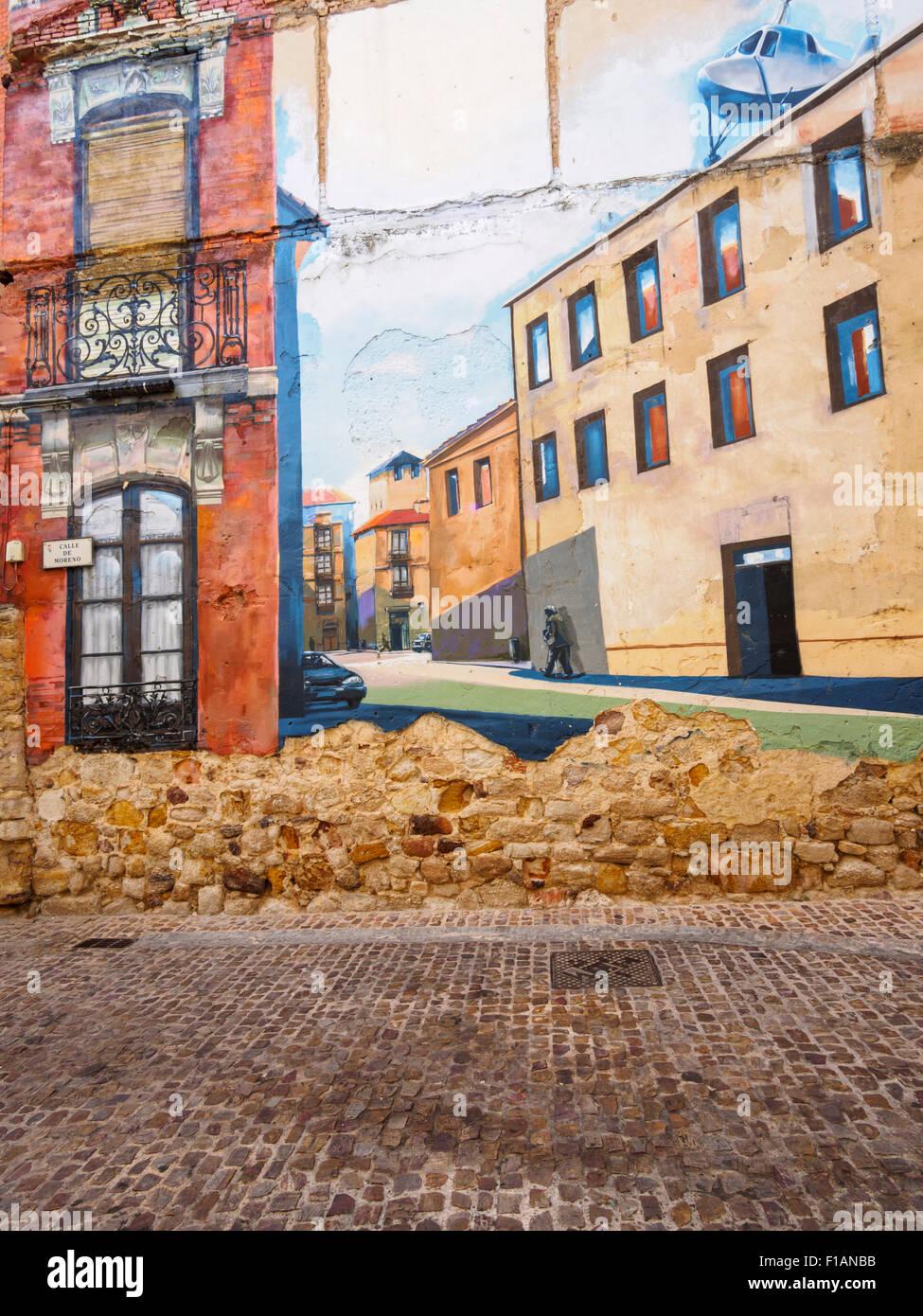 España, Zamora, Calle de Moreno, la pintura de la pared Imagen De Stock
