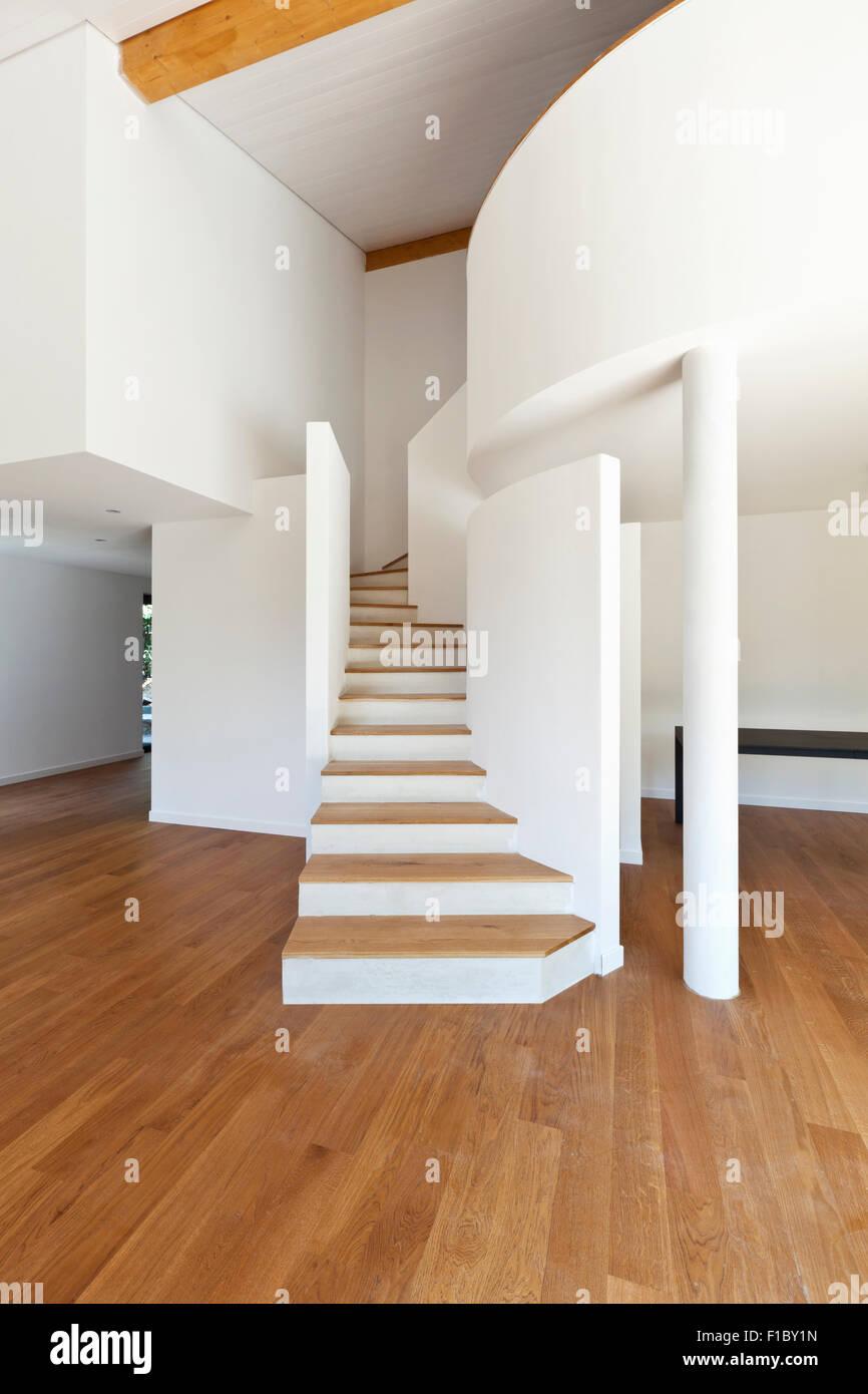 Interior Casa Moderna Escalera Piso De Parquet Foto