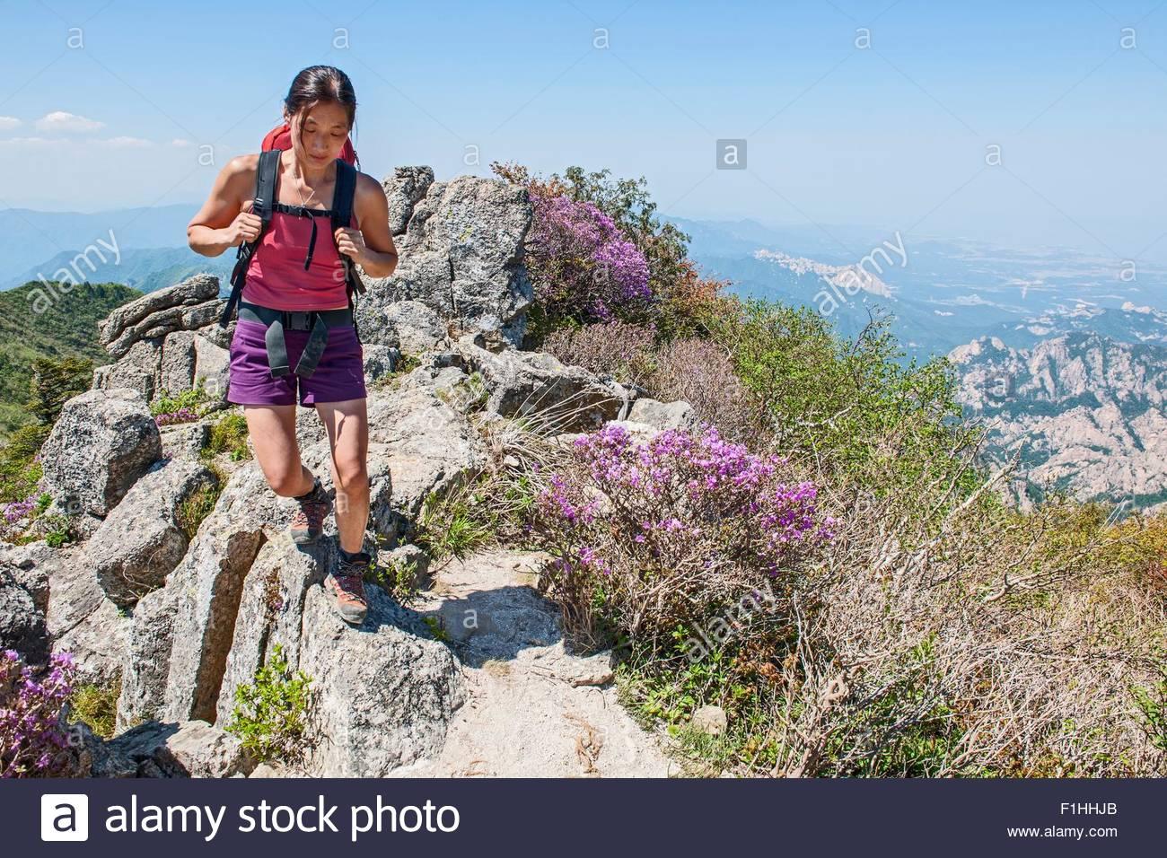 Excursionista hembra caminando Ridge en camino a pico Daecheongbong, Parque Nacional de Seoraksan en Corea del Sur Imagen De Stock