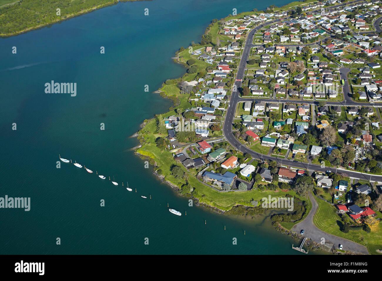 Panamá Road, Otahuhu y Otahuhu Creek, Auckland, Isla del Norte, Nueva Zelanda - antena Foto de stock