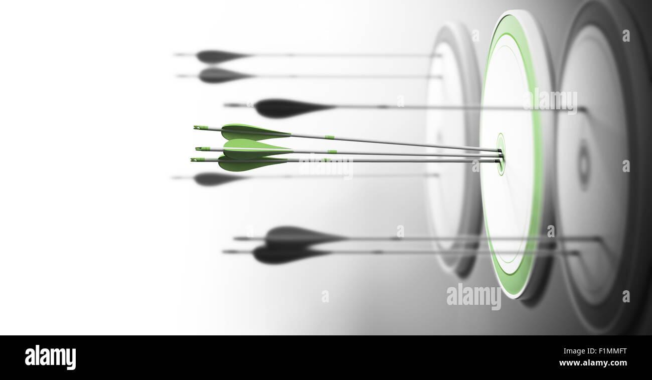 Tres objetivos con enfoque en uno en el centro y flechas de golpear el centro. Concepto de excelencia competitiva Imagen De Stock