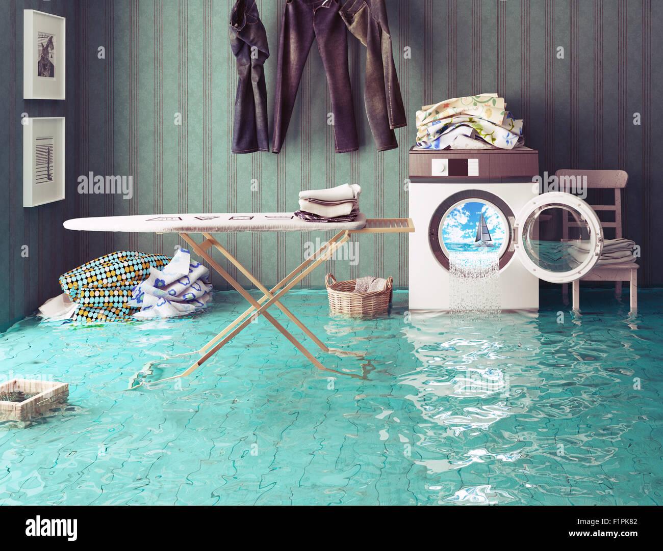 Los quehaceres domésticos sueños. 3d El concepto creativo. Imagen De Stock