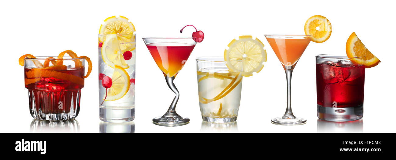 Conjunto de oficiales de la AIA cocktails: Negroni, John Collins, Mary Pickford, Gin Fizz, Glándula de mono Foto de stock