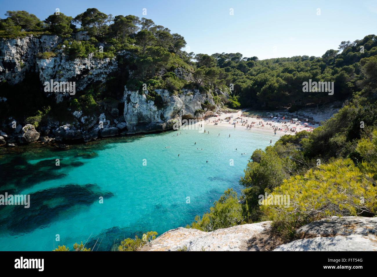 Cala Macarelleta, cerca de Cala Galdana, al sur de la costa oeste de Menorca, Islas Baleares, Mediterráneo, Imagen De Stock