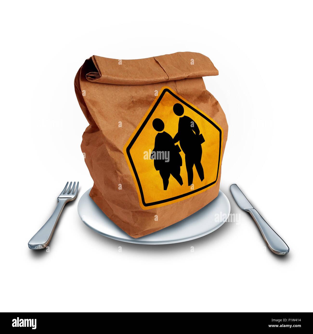 Problema de obesidad escolar y niños almuerzo dieta problema social como una crisis nutricional concepto como Imagen De Stock
