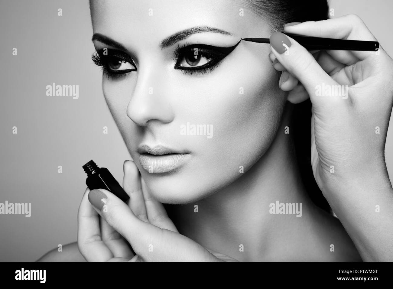 Maquillaje artista aplica la sombra de ojos. Mujer hermosa cara. Maquillaje perfecto. Fotografía en blanco Imagen De Stock