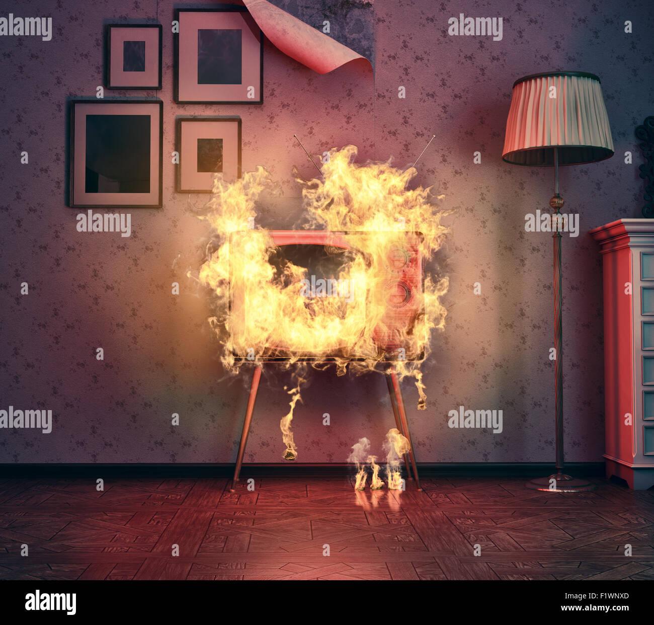 Retro ardor en la antigua sala de TV. 3D rendering Imagen De Stock