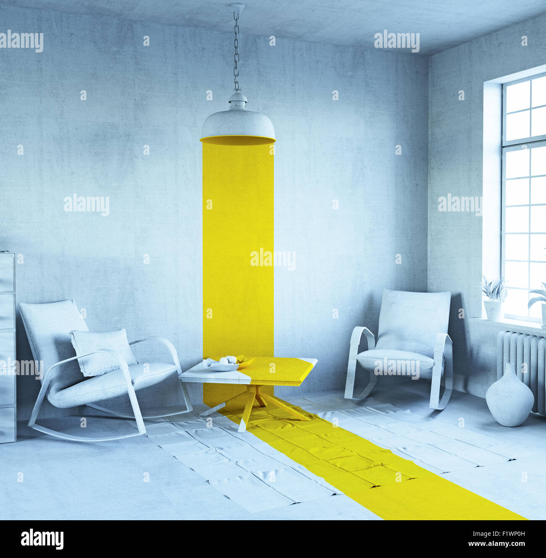 El concepto de arte - estilo interior. 3D rendering Imagen De Stock
