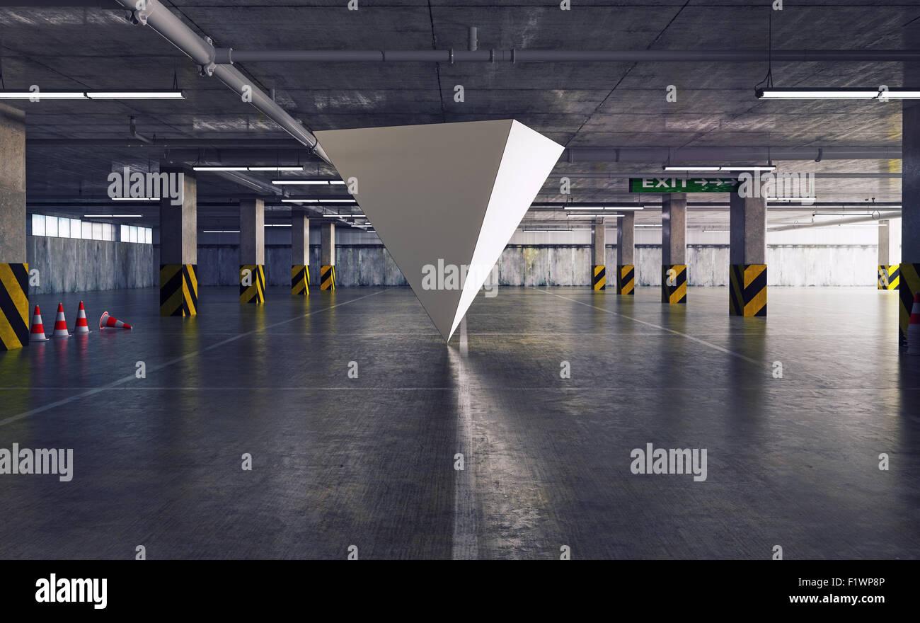 Figura geométrica piramidal en el aparcamiento. El concepto creativo 3d Imagen De Stock