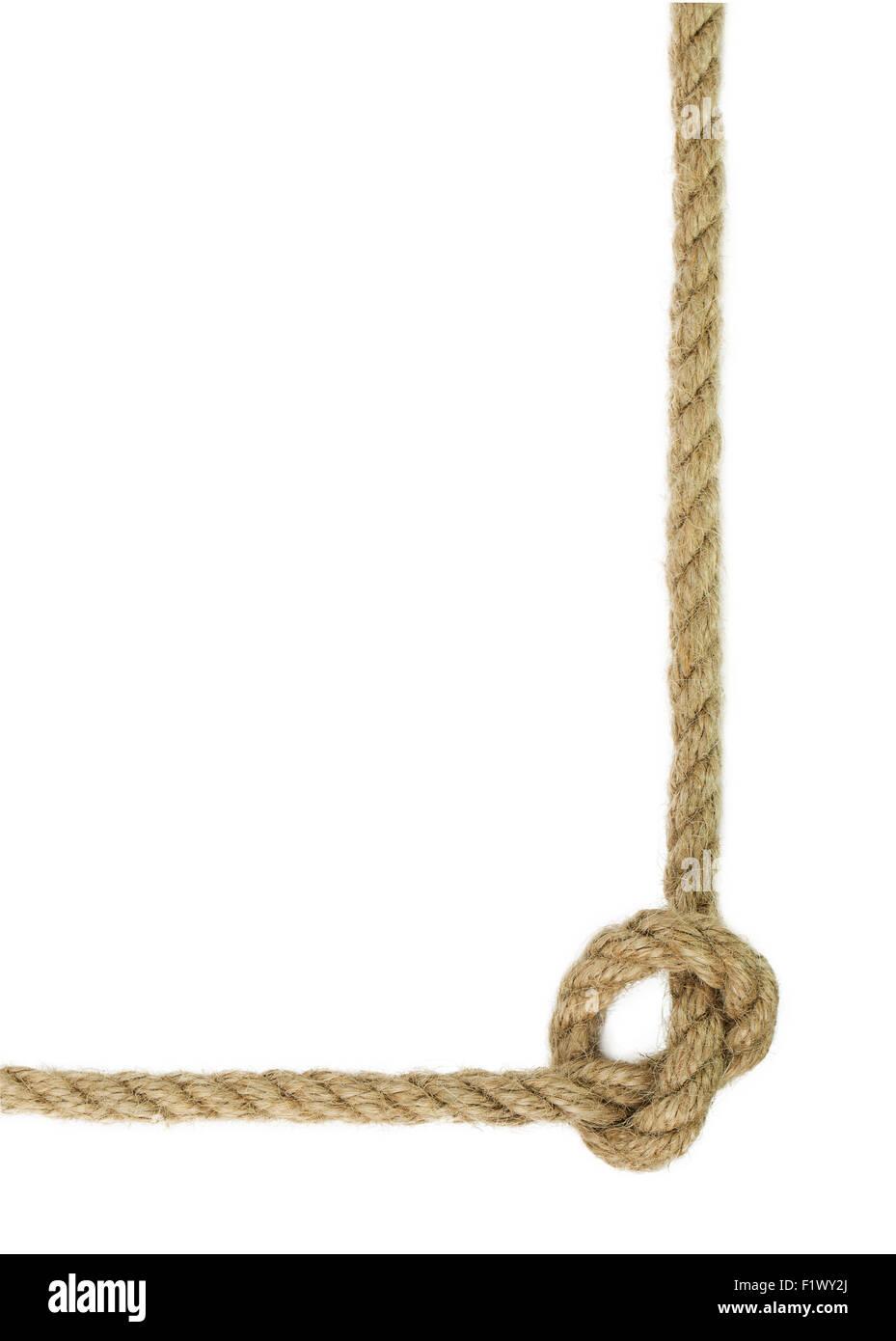 Nodo de cuerda aislado en el fondo blanco. Imagen De Stock