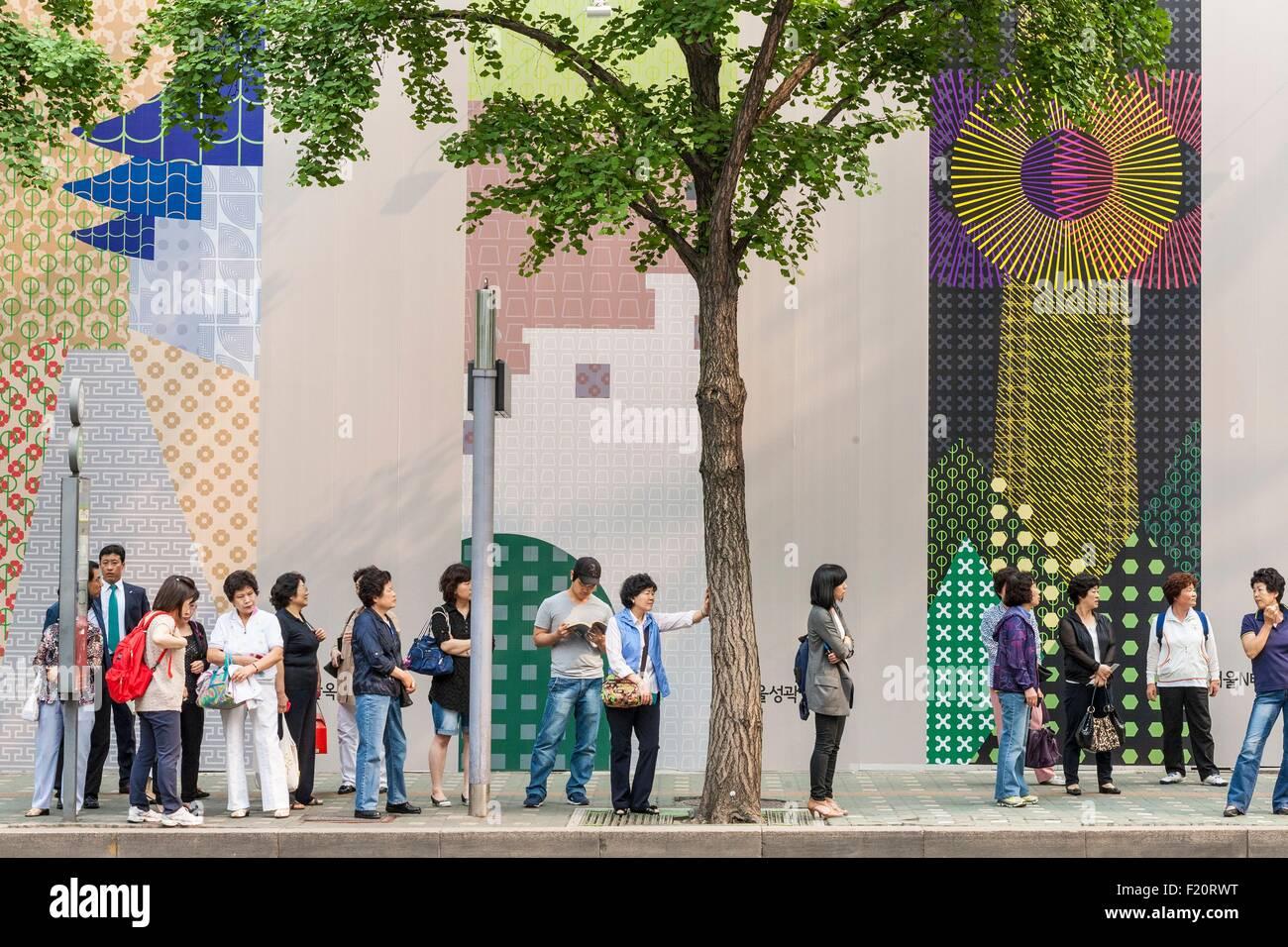 Corea del Sur, Seúl, Jung-gu distrito parada de autobús Imagen De Stock