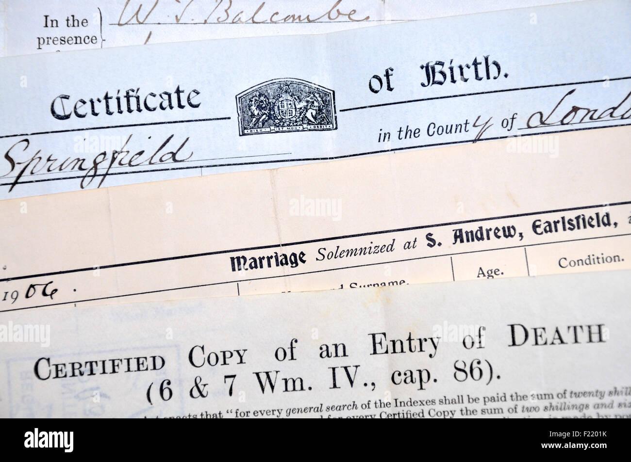 Los certificados de nacimiento, matrimonio y defunción (Británico ...