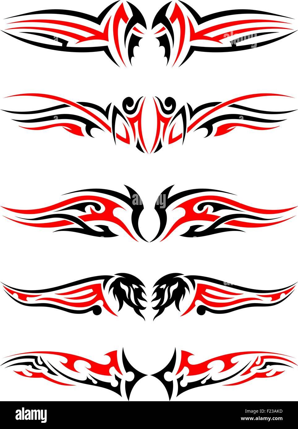 Conjunto De Tatuajes Indígenas Tribales En Colores Rojo Y Negro