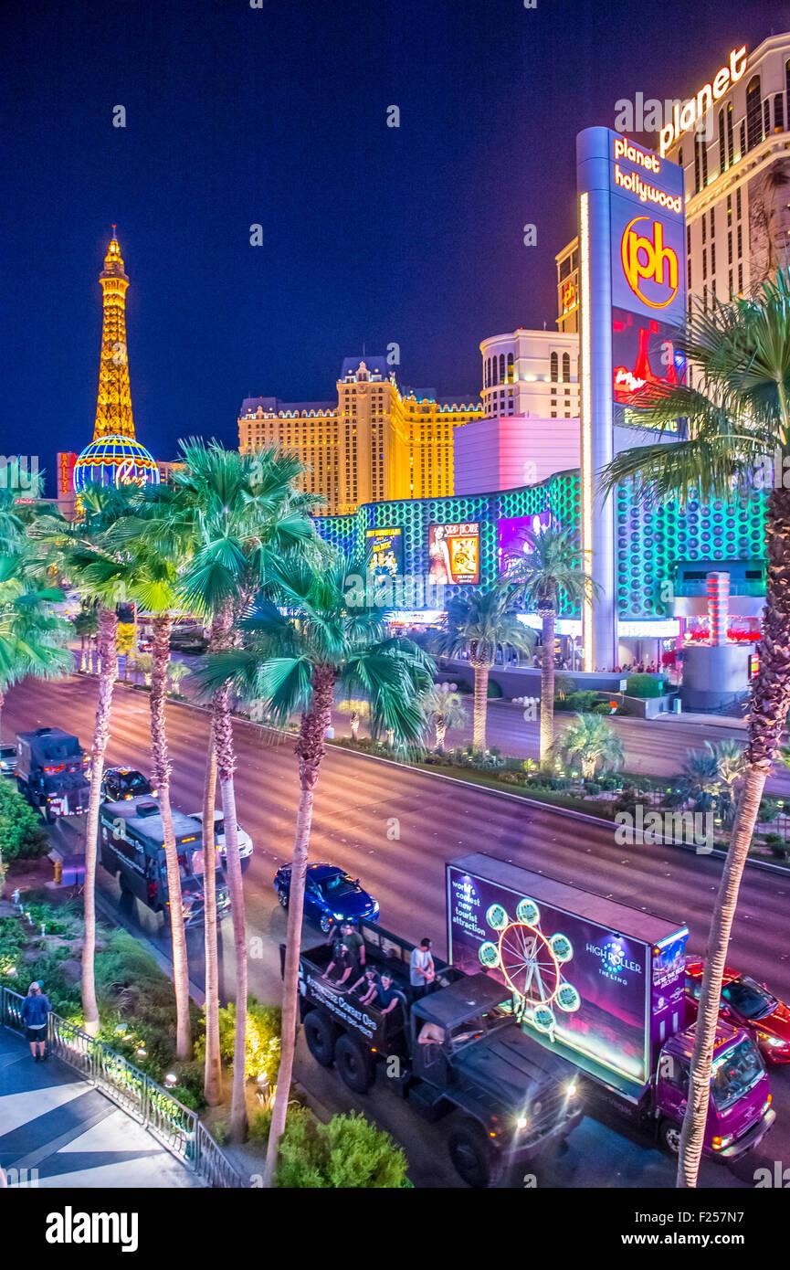 Vista de la strip, en Las Vegas, Nevada Foto de stock