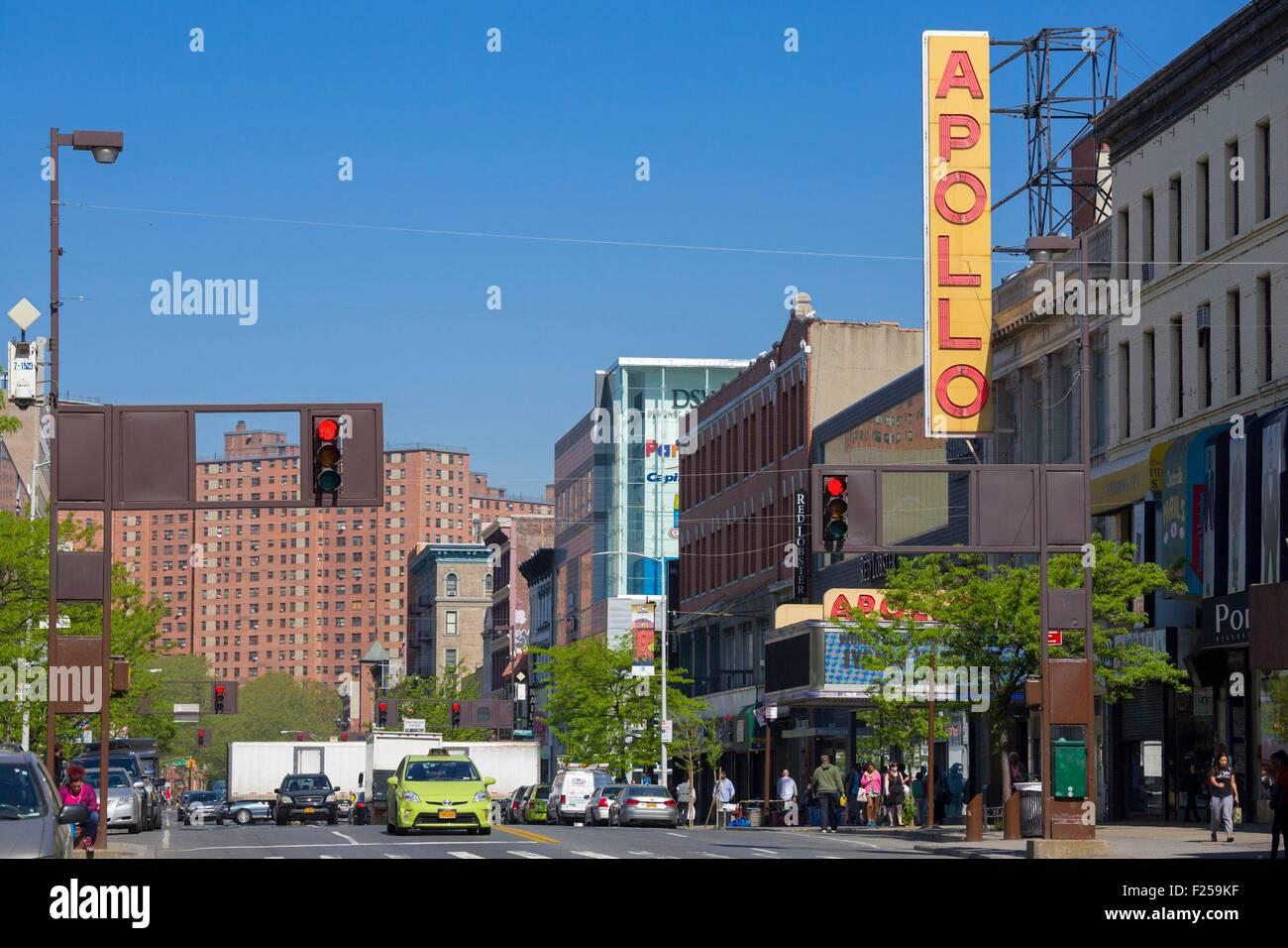 Estados Unidos, Nueva York, Manhattan, Harlem, 125th Street, el Teatro Apollo, Imagen De Stock