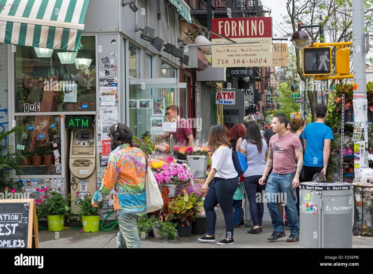 Estados Unidos, Nueva York, Brooklyn, vecindario de Williamsburg, Bedford Avenue, floristería Imagen De Stock