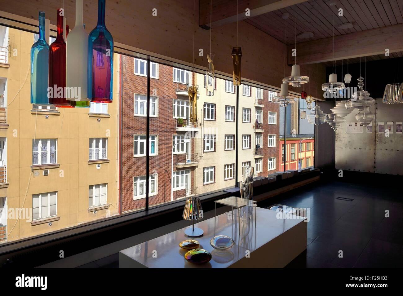 República Checa, Praga, cristalería Lasvit show room, brillo Imagen De Stock