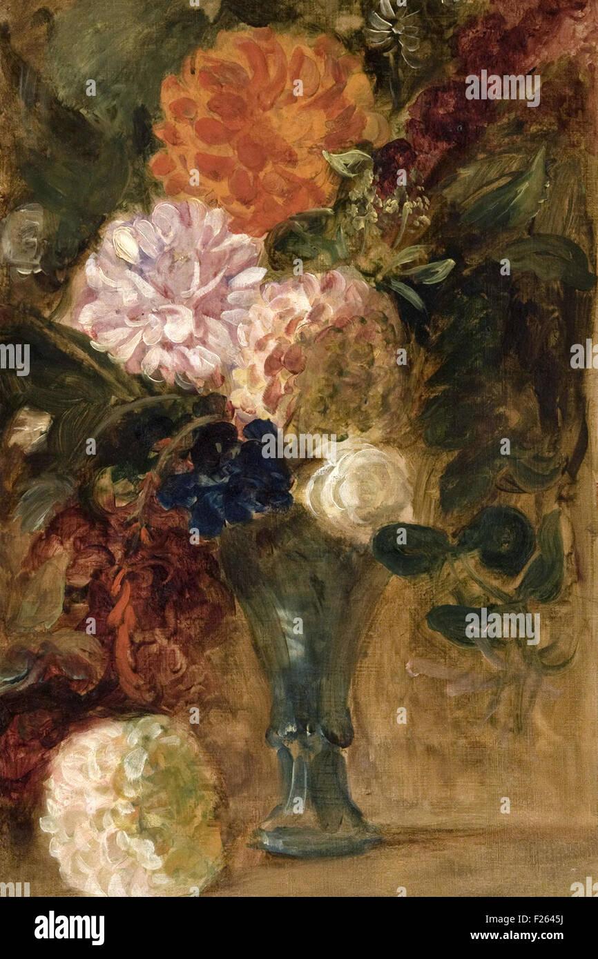 Eugène Delacroix - Bodegón con dalias Imagen De Stock
