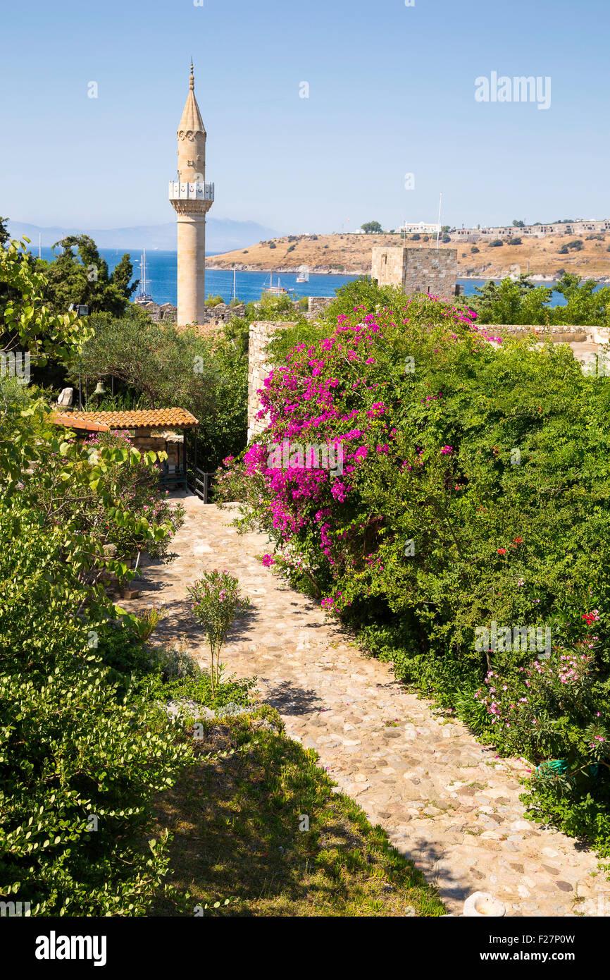Florido camino de piedra a la antigua mezquita histórica en el Castillo de Bodrum. Imagen De Stock