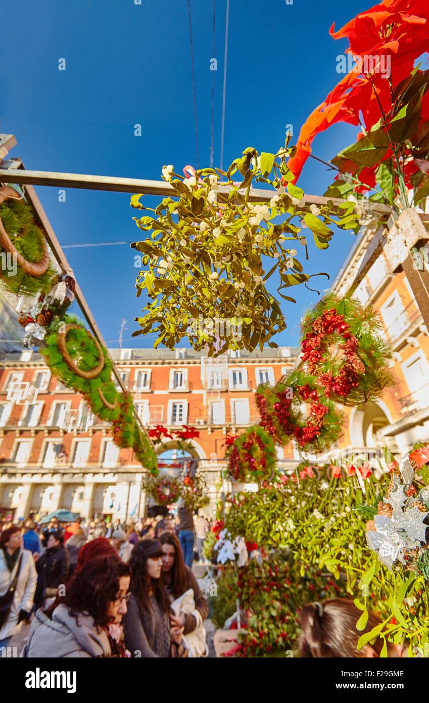 Plaza Mayor Mercado de Navidad . Madrid, España. Foto de stock