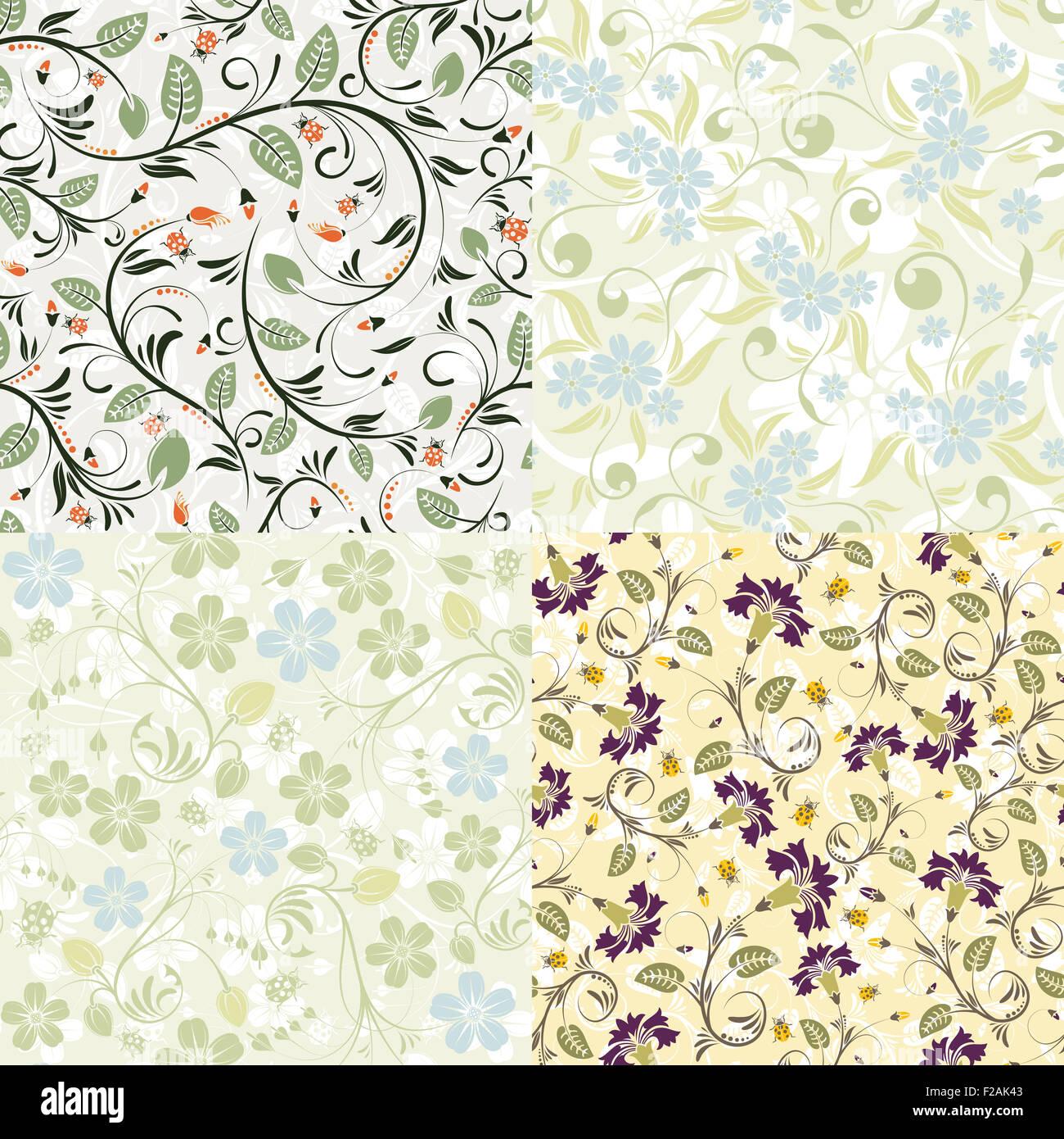 4 flor Mariquita con patrones sin fisuras. Plantilla para cubrir ...