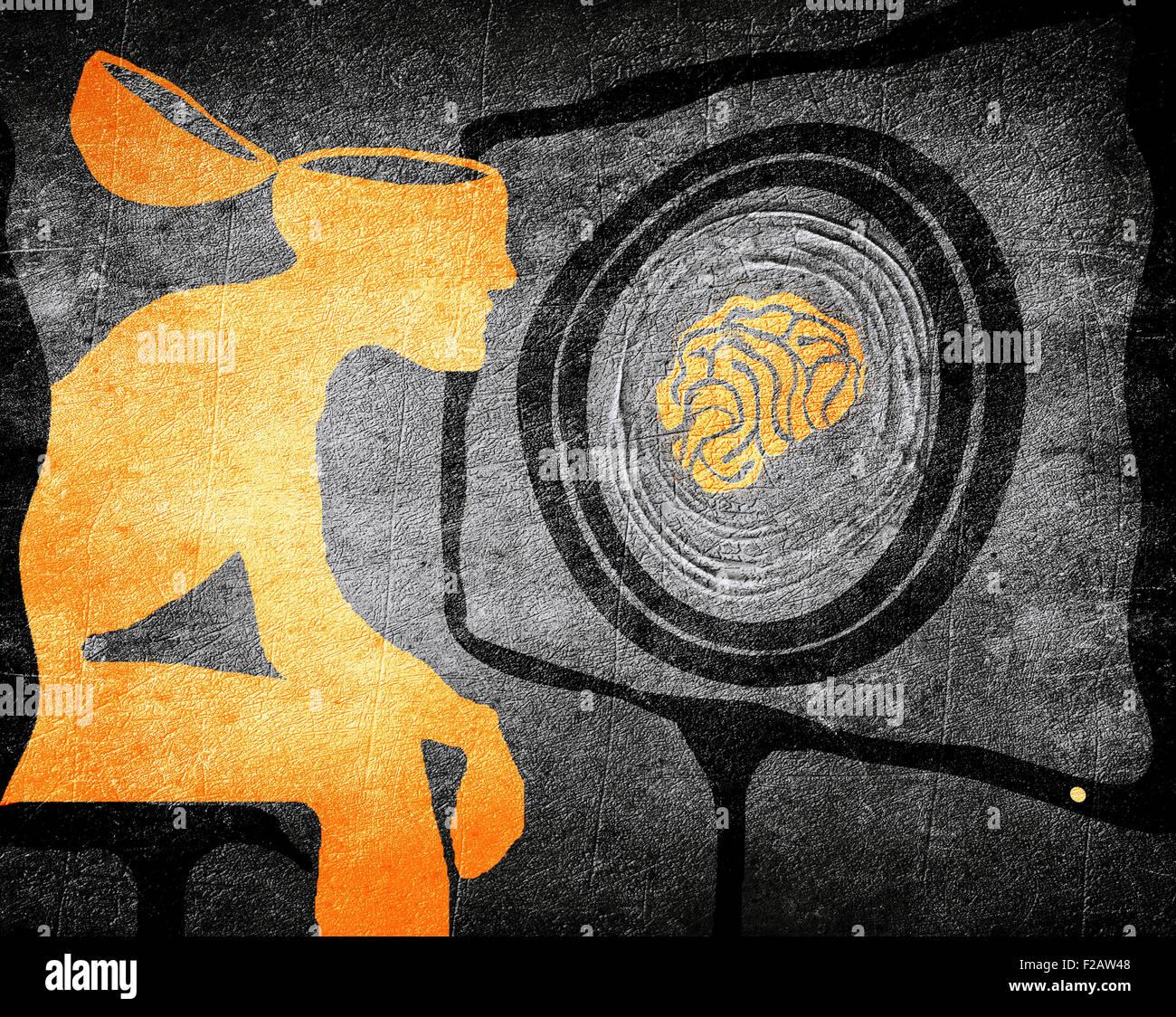 Hombre mirando la televisión el lavado de cerebro la ilustración concepto Imagen De Stock