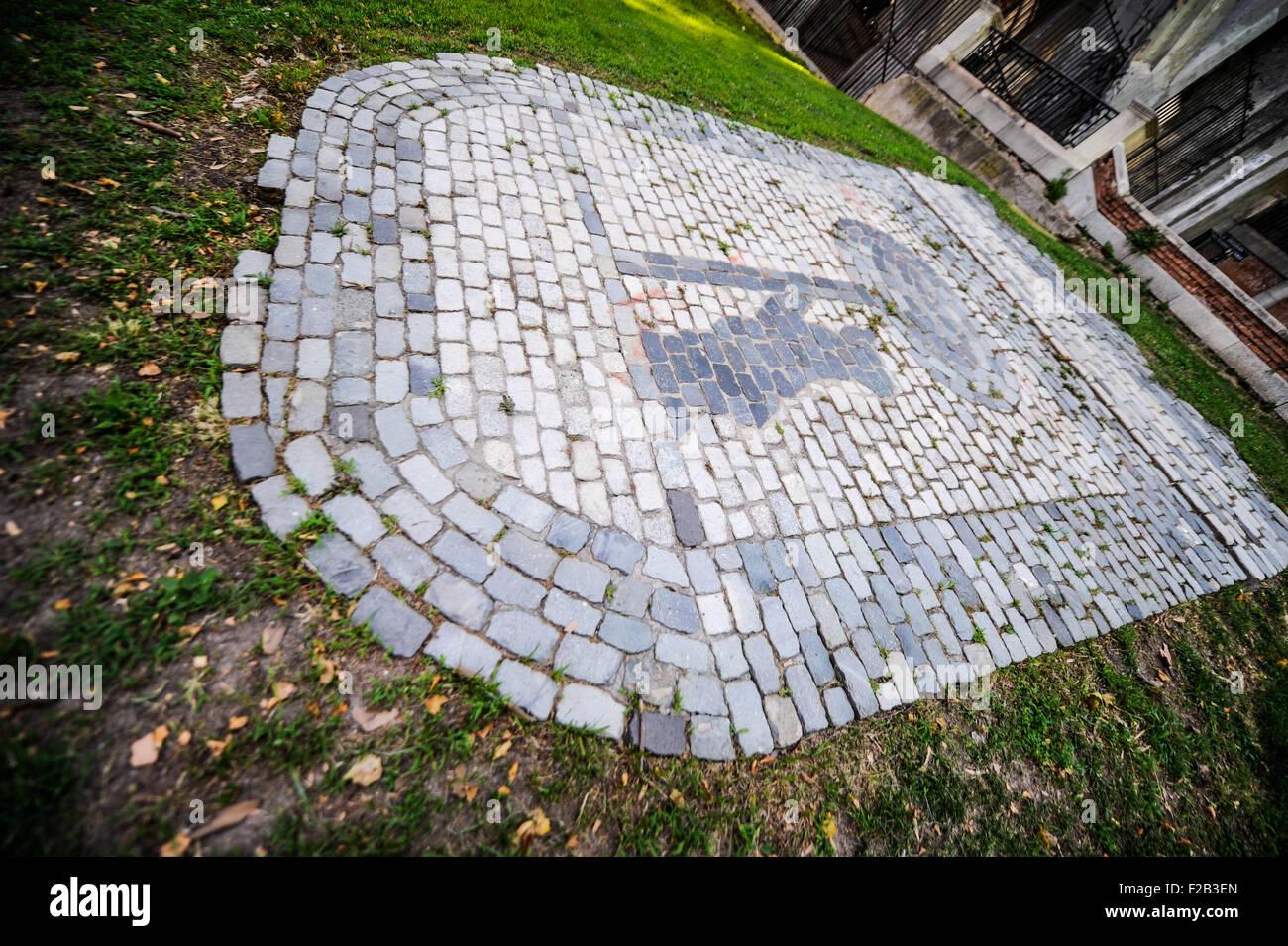 Pavimento del escudo de Madrid-calzada del escudo de Madrid Imagen De Stock