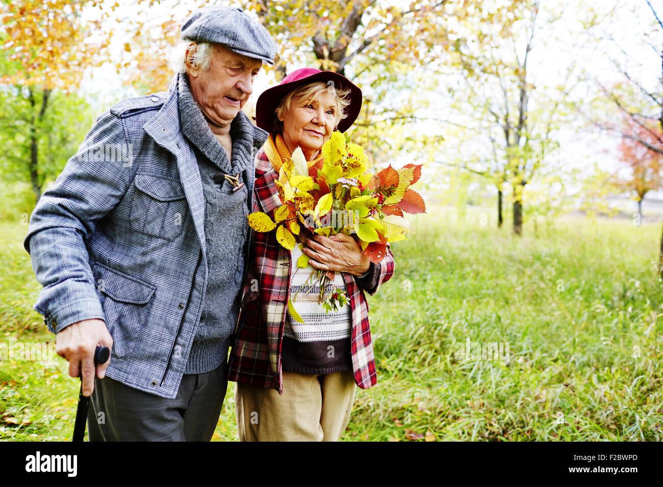 Pareja de jubilados caminar en el parque en otoño de fin de semana Imagen De Stock