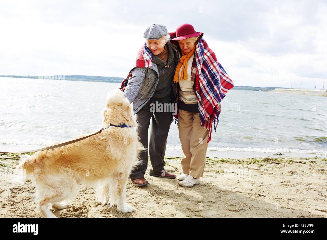 Pareja de jubilados jugando con el perro por la costa en otoño de fin de semana Imagen De Stock