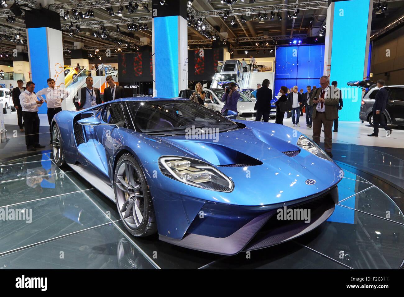 Frankfurt/M, 16.09.2015 - Ford GT concept car en el stand de Ford en el 66º Salón Internacional del Automóvil Imagen De Stock