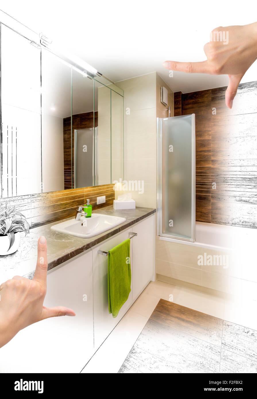 Manos femeninas, baño de diseño personalizado de encuadre ...