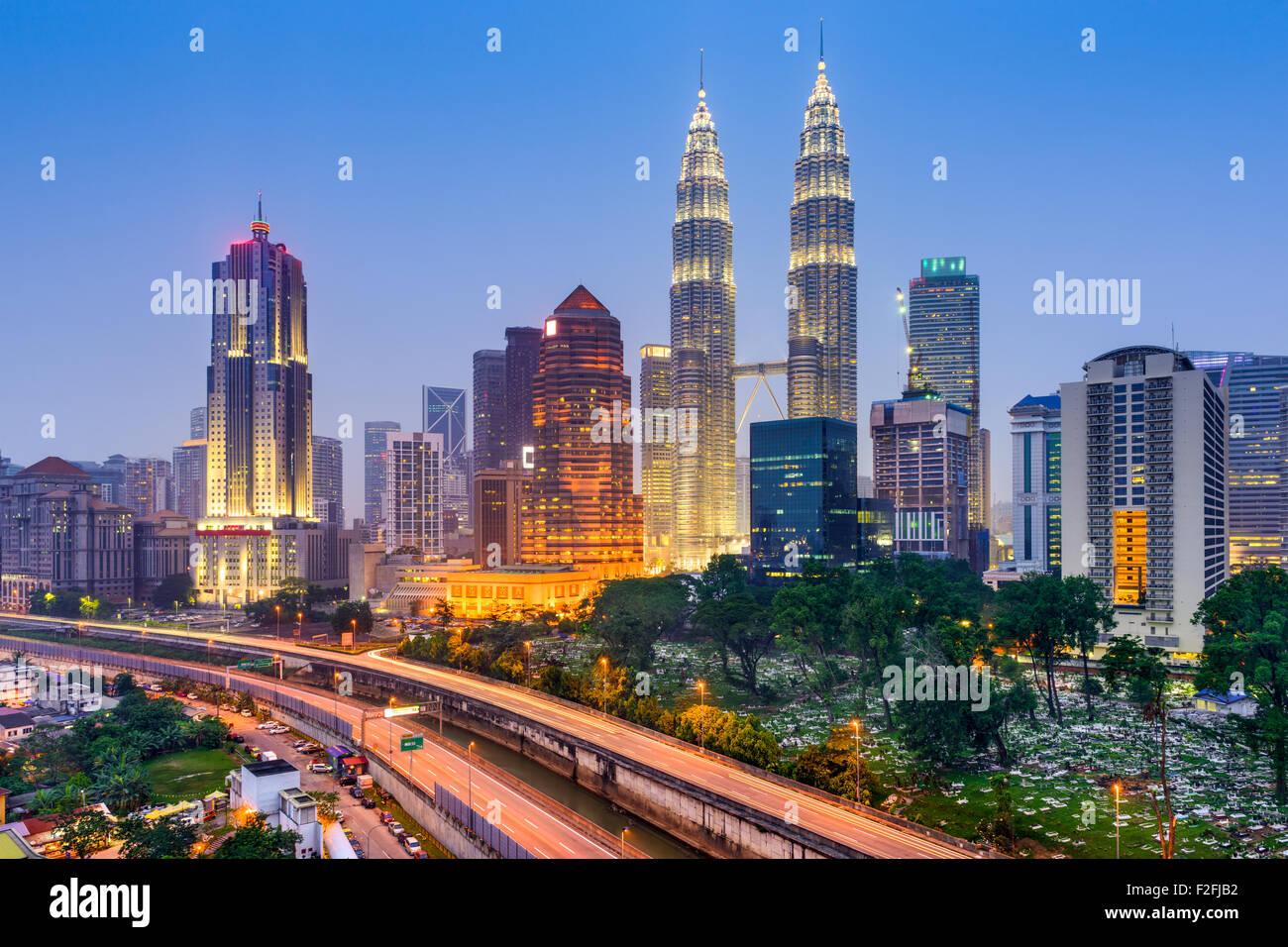 Kuala Lumpur, Malasia, el horizonte de la ciudad. Imagen De Stock