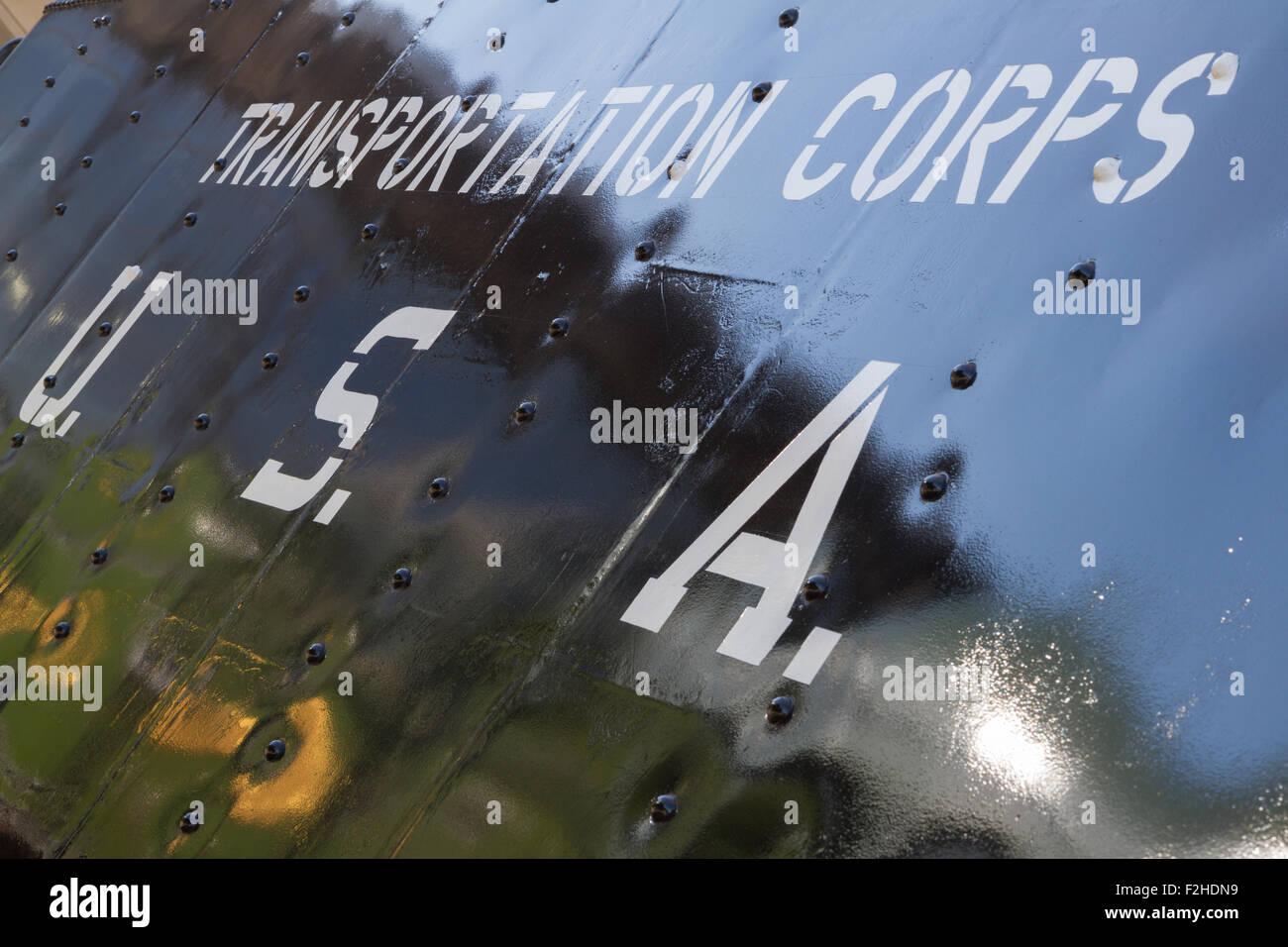Shildon, County Durham, Reino Unido. El 19 de septiembre, 2015. Temática WWII Otoño Gala en la locomoción de vapor, el Museo Nacional del Ferrocarril en Shildon. S160 2253 - ex transporte US Army Corps locomotora hecha por Baldwins en Filadelfia, Estados Unidos, y enviado a Inglaterra en mayo de 1943. Crédito: Andrew Nicholson/Alamy Live News Foto de stock