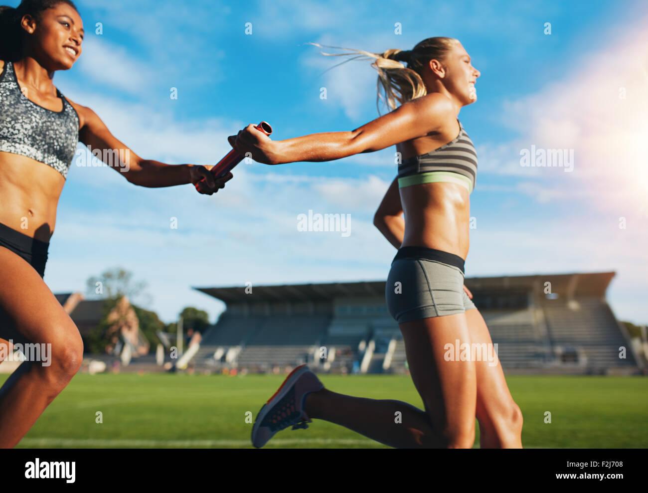 Las mujeres atletas pasando el relevo mientras se ejecuta en la pista. Mujeres jóvenes corren carrera de relevos, Imagen De Stock