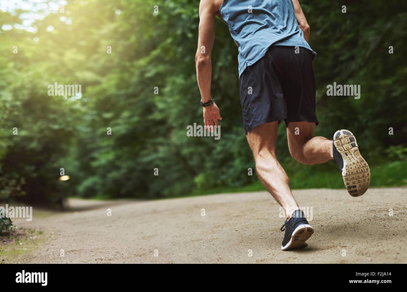 Vista trasera decapitado Shot de un joven atlético ejecutando en el parque temprano en la mañana. Imagen De Stock