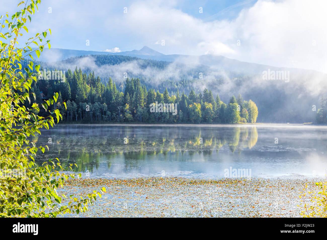 Amanecer brumoso y Scénic reflexiones sobre el lago holandés en Clearwater, British Columbia, Canadá, América del Norte. Foto de stock
