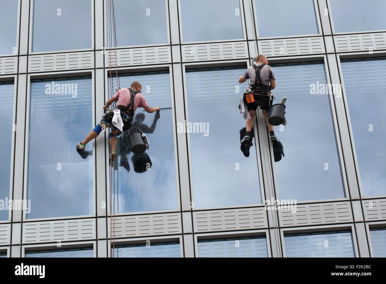 Dos trabajadores de acceso por cuerda (cuerda limpiadores) limpieza de ventanas en un edificio de oficinas en la Imagen De Stock
