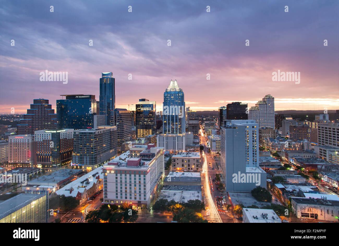 Austin skyline en penumbra Imagen De Stock