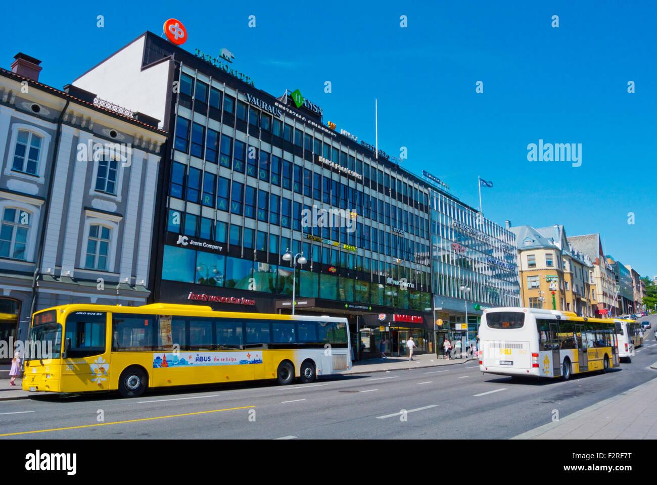 Los autobuses, Kauppatori, market square, Turku, Finlandia Imagen De Stock