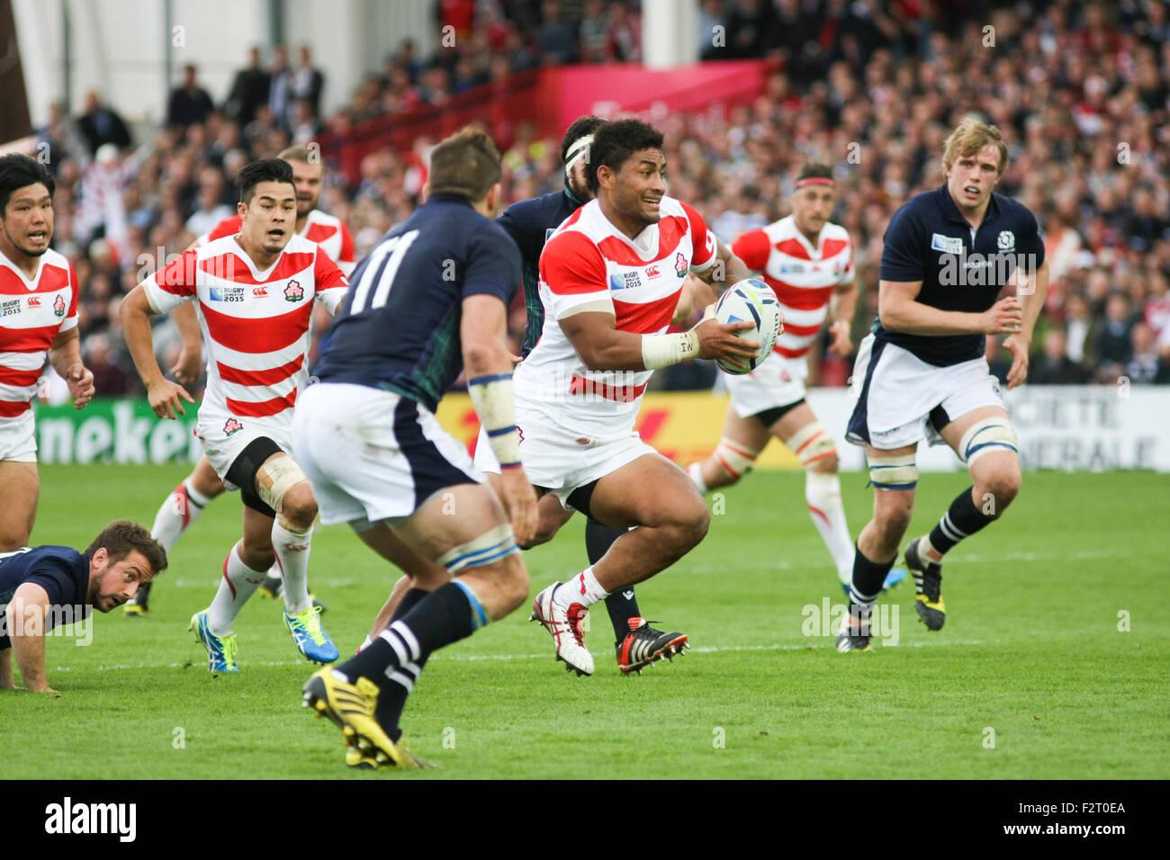 Gloucester, Reino Unido. El 23 de septiembre, 2015. La Rugby World Cup 2015 - Escocia contra Japón, jugó Imagen De Stock