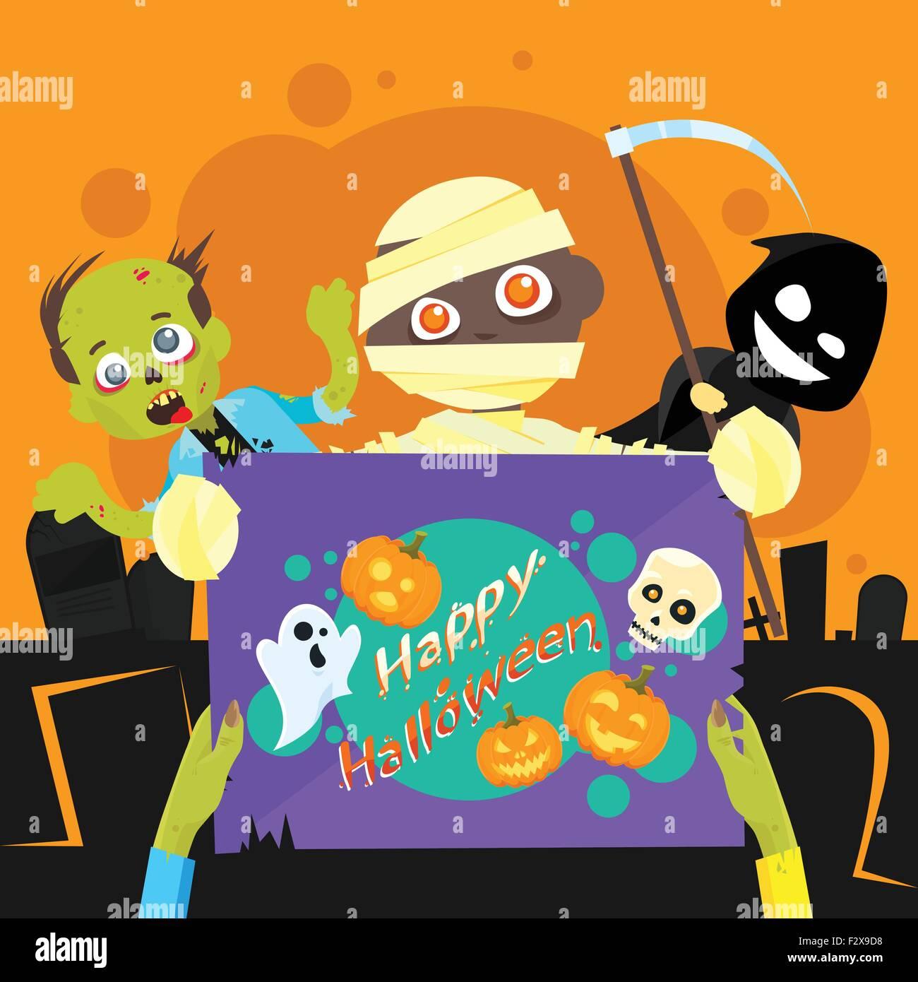 Feliz Fiesta De Halloween Noche Zombie Póster Banner Tarjeta