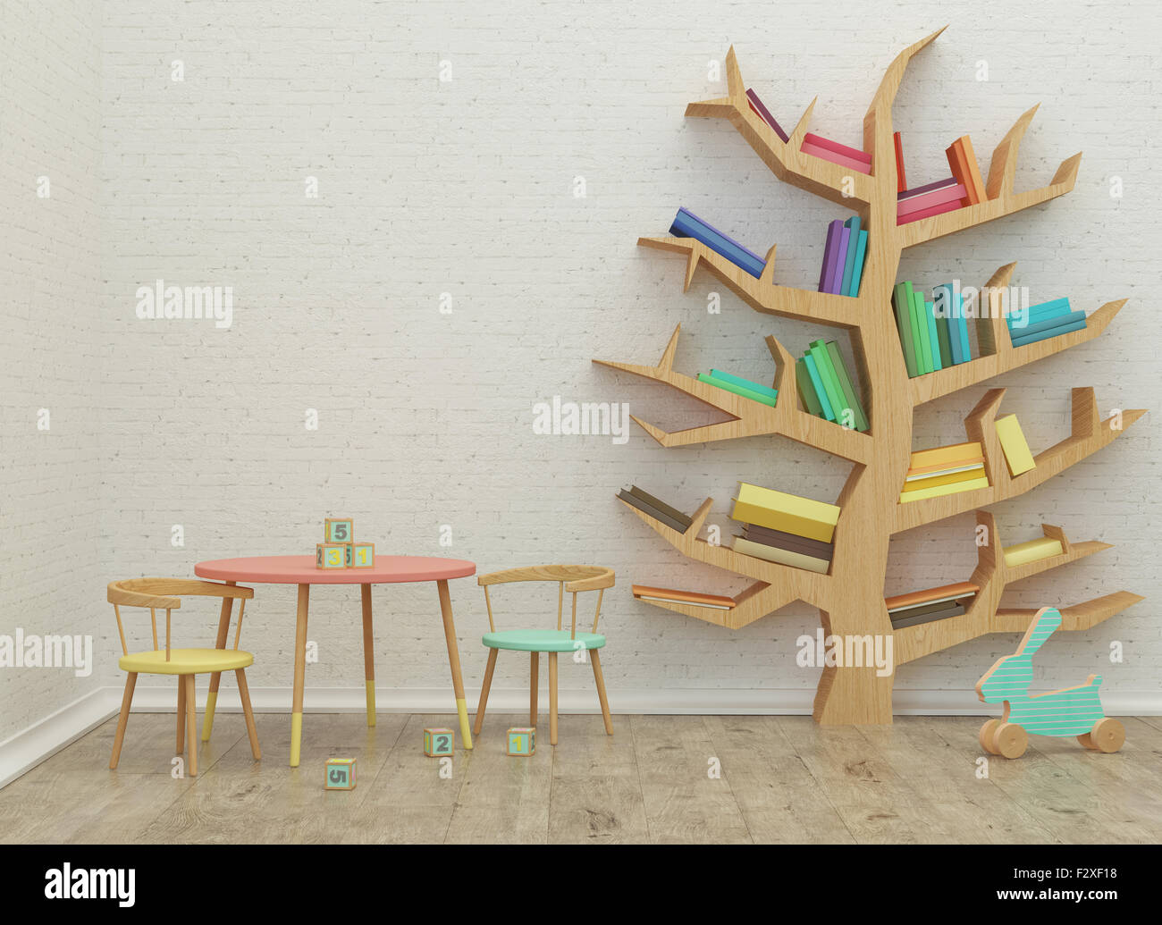 Sala de juegos para niños interior 3D rendering con coloridas imágenes de libros y juguetes Imagen De Stock