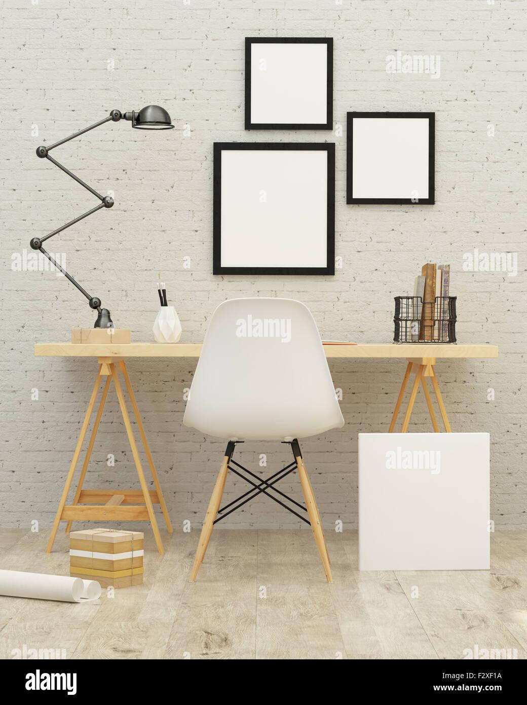 Habitación blanca interior con una pared de ladrillo. 3D rendering Imagen De Stock