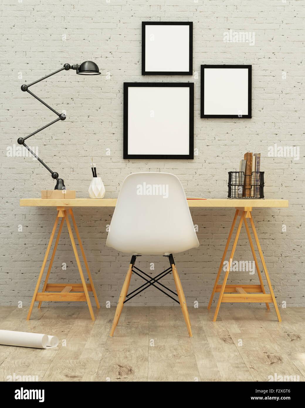 La sala de trabajo diseño de interiores 3D rendering Imagen De Stock