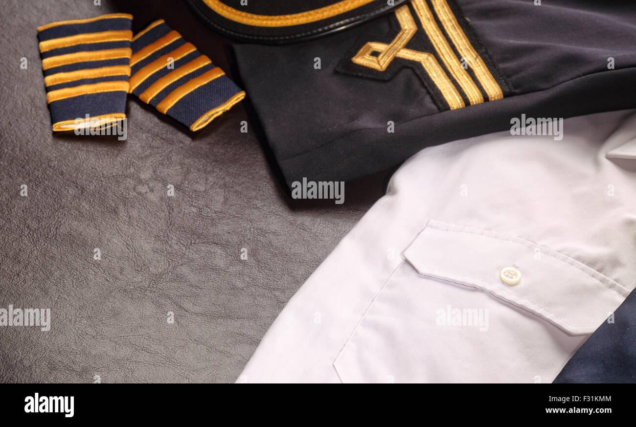 Y uniforme de piloto Foto de stock