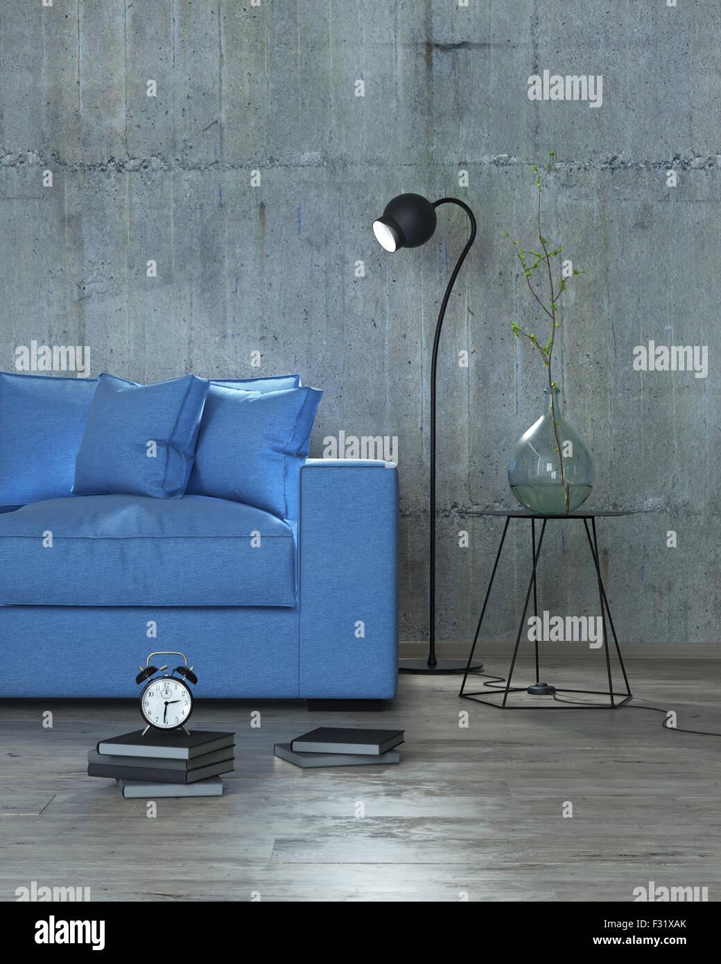 Interior moderno con sofá azul de fondo, 3D Imagen De Stock