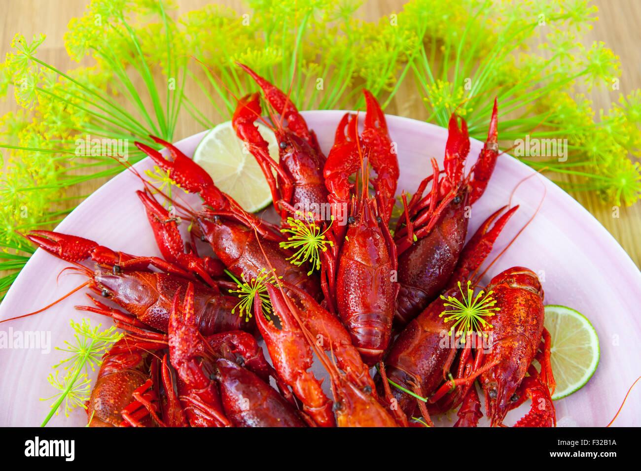 Imagen de un plato de langostinos y eneldo. Foto de stock