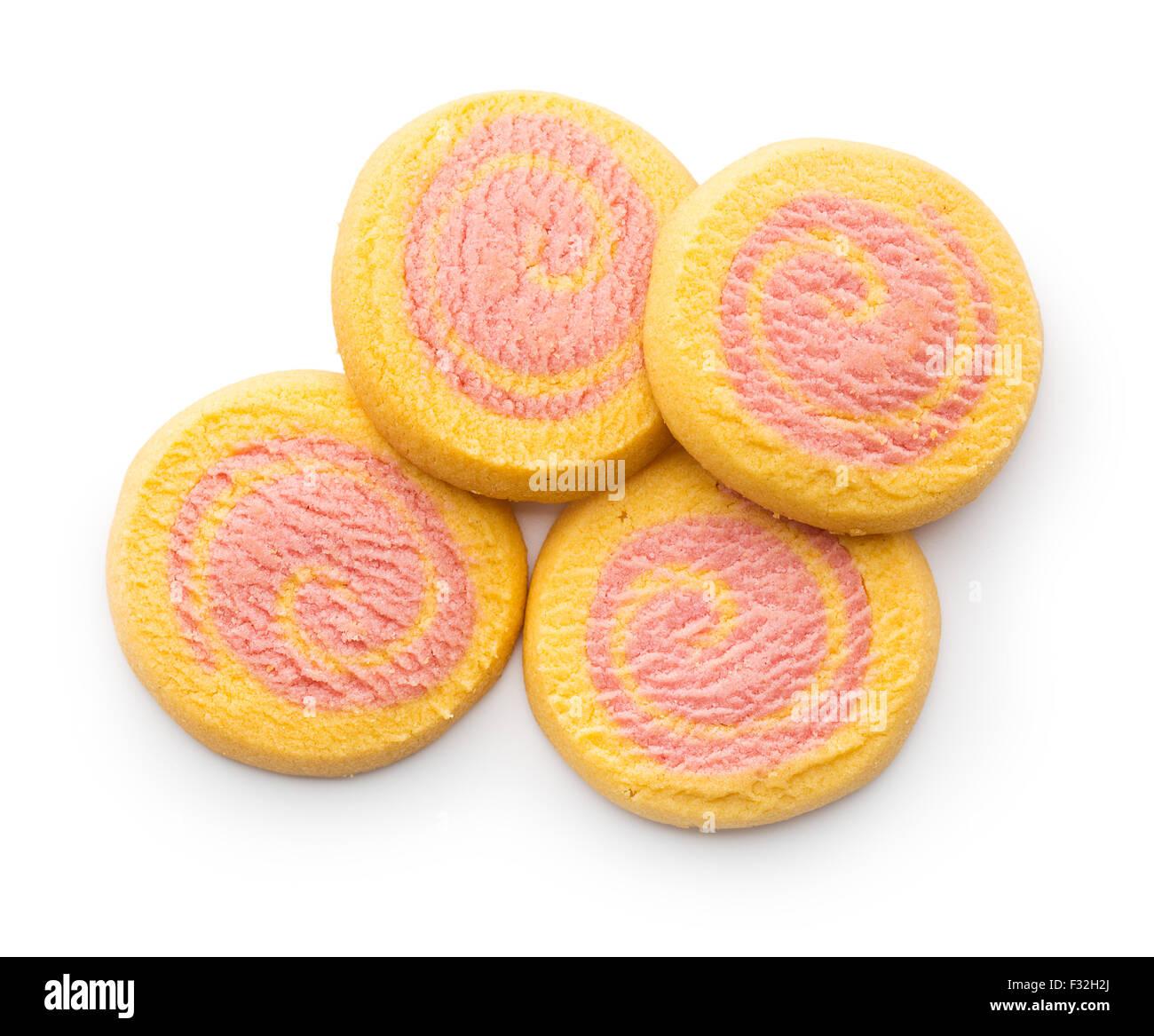 Galletas de Mantequilla de colores sobre fondo blanco. Foto de stock