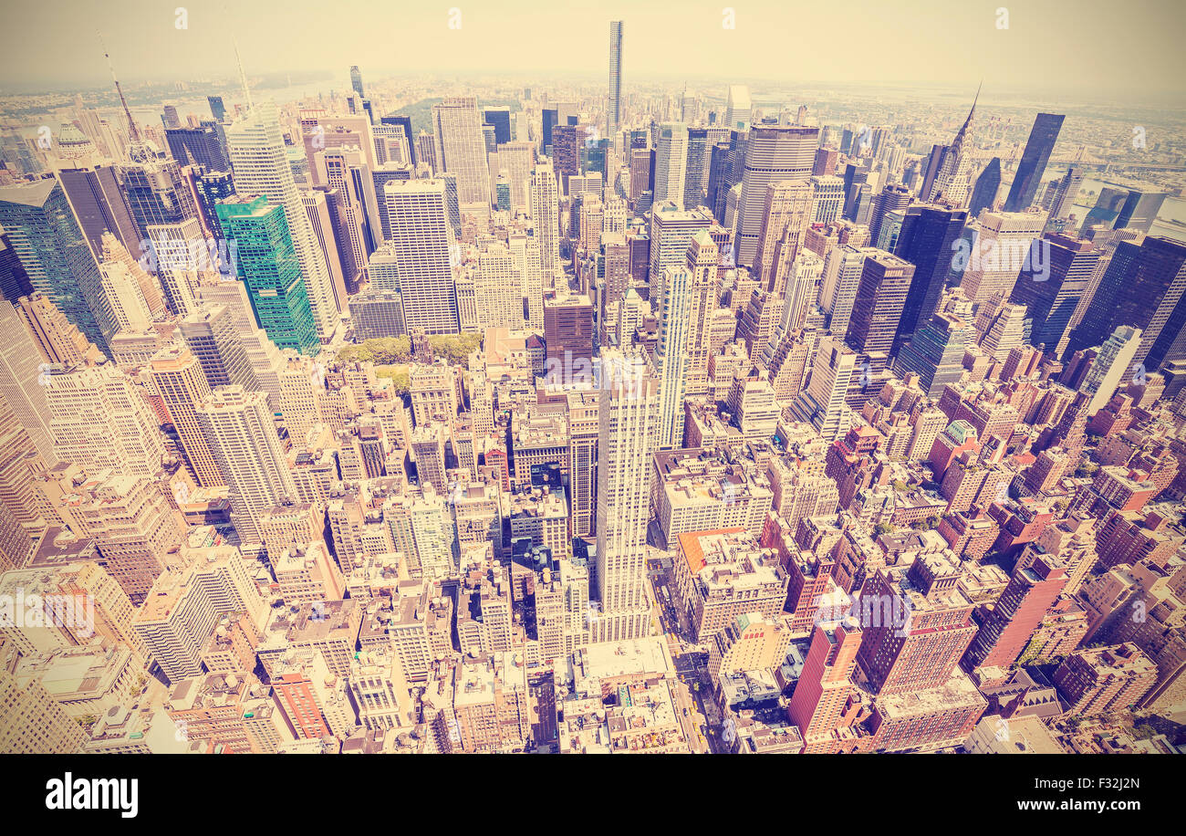Retro estilizado vista aérea de Manhattan, Ciudad de Nueva York, EE.UU. Foto de stock