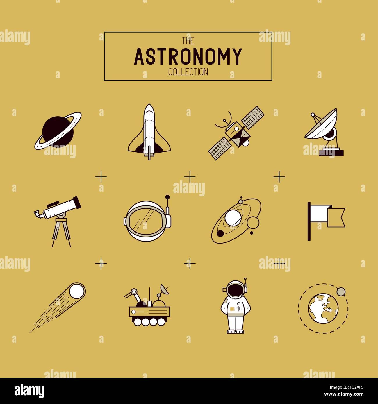 Astronomía Vector de oro conjunto de iconos. Una colección de iconos de la línea temática espacial Imagen De Stock